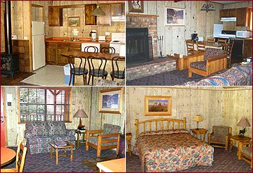 Four views of guest accommodations at the Riverside Lodge, Cabins & Condos: Fully equipped kitchenette and dining, Large brick fireplace, Living room with stunning views, bedroom with queen bed and seating. Decor is Lodge style, with knotty pine paneling andeclectic, comfortable furnishings.